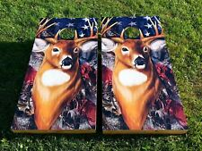 Whitetail Camo Flag Corn Hole Boards - Bean Bag Toss Game