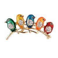 Brooch Pin Enamel Five Birds Collar Clip Animal Brooches Crystal Rhinestone BL3