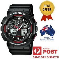 Casio G-Shock GA-100-1A4 GA-100-1A4ER MILITARY Black Red Analog-Digital Watch