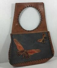 Hippie Purse Leather Handbag Butterfly Butterflies Leather Stitching Carrier