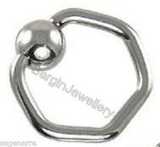 1 x 16g - 10mm Hexagon Surgical Steel Captive Bead Ring CBR with 4mm BALL