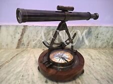 ALIDADE TELESCOPE WITH COMPASS NAUTICAL BRASS MARINE COLLECTIBLE ITEM