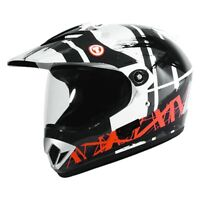 TORC T37B Adventour Bluetooth Motorcycle Off-Road Helmet Gloss White Dakar DOT