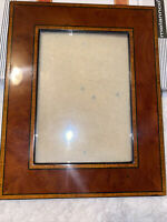 Burl Wood High Lacquer Picture Frame With Marquetry Accents NEW In Box  5x7 NICE
