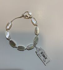 NWT Kendra Scott Millie Bright Silver and Ivory Pearl adjustable Tennis Bracelet
