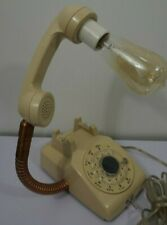 one of a kind Vintage Rotary Dial  beige Telephone Desk Table Night Light Lamp