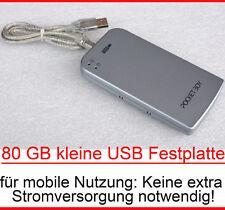 """80GB ULTRALEICHTE KLEINE MOBILE EXTERN IDE USB HARDDISC 6,35cm 2,5"""" POWER USB"""