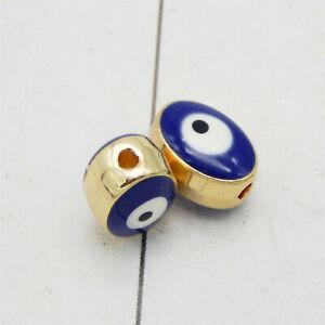 12PCS Oval Evil Eye Enamel Spacer Loose Bead Turkish Bracelet DIY Jewelry 10*6mm