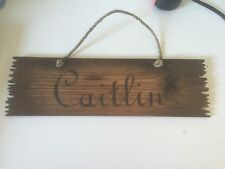 "New Caitlin Name Sign Kids room door gift Wood 16.5"" Long Cabin Rustic Farmhouse"