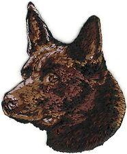 "2"" 2 1/2"" Chocolate Brown Australian Kelpie Portrait Dog Breed Embroidery Patch"