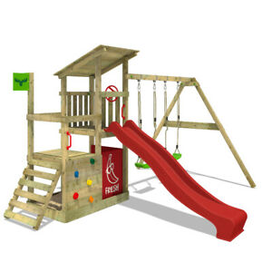 Wooden climbing frame FATMOOSE FruityForest - with red slide and sandpit