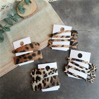 2PCS Women's Leopard Snap Hair Clips Barrette Hairpin Bobby Slide Grip Pins