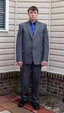Vintage Men's Button Fly Blue Herringbone Wool Suit 42 R 39 x 31