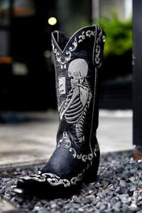 """YL 348-1 YIPPEE KI YAY BY OLD GRINGO """"SELFIE"""" BLACK EMBROIDERED 13"""" LEATHER BOOT"""
