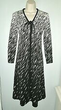 Vtg Yolanda Designer's Collection Black White V-Neck Bow Sheath Dress Women S