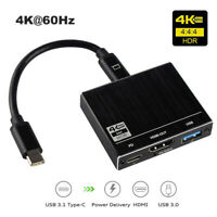 Type C To USB C USB3.0 HUB Multiport Adapter HDMI 2.0 4K 60Hz 100W PD Convertor