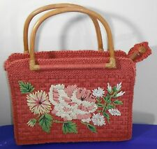 Fossil Coral Straw Handbag Purse Floral Print Wooden Handles #P