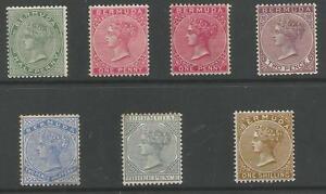 BERMUDA SG21a,22,24,26,27,28&29b QV 1888-1904 MINT THE 2.5d IS UNUSED CAT £267