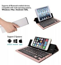 Foldable Bluetooth Keyboard Stand For iPad/iPhone/Android/Windows - Rose Gold