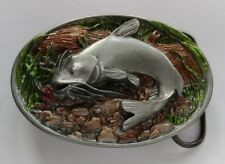 CATFISH FISH LURE FISHING UNDERWATER SCENE BELT BUCKLE USA MADE NEW