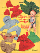 """Vintage 8"""" Dolls Clothes Wardrobe  For a Lucky Doll 4Ply  Knitting Pattern"""