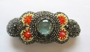 Spirit of Nature Hair Clip Seed Beads- stone in center- gray orange yellow