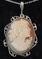 Silver & carved shell cameo vintage Victorian antique oval pendant