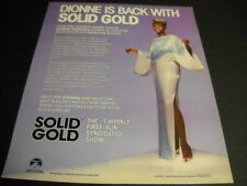Dionne Warwick is back with Solid Gold original 1985 Promo Poster Ad mint cond.
