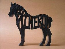 Percheron Draft Work Horse Wood Tack Room Toy Puzzle Amish Made Figurine Art