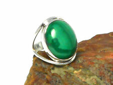 MALACHITE   Sterling  Silver  925  Gemstone  RING  -  Size : O  -   Gift Boxed