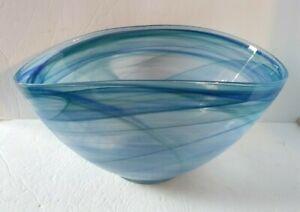 "Large Blue Swirl Oval Freeform GLASS Serving Bowl 6"" tall 11.5"" & 7.25"" diameter"