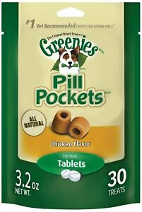 Greenies Dog Tablet Pill Pockets | Chicken 30 count - Pack of 9