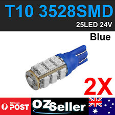 2 X T10 LED BLUE Bulbs 24V Indicator Parker Dome Dash Wedge Globe Light W5W 194