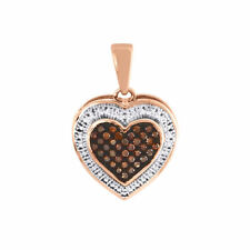 Heart Red Diamond Pendant Ladies 10k Rose Gold Charm Necklace 0.12 CT.