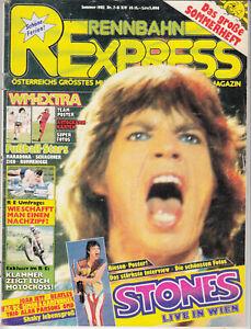 Rennbahn Express 1982/7-8 Österriech. Jugend-Zeitschrift (wie Bravo) Mick Jagger