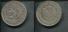 KAISERREICH 1892 A - 20 Pfennig in Nickel, ss! Jäger 14