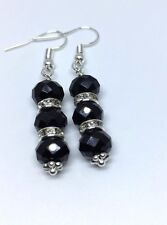 Women CRYSTAL RHINESTONE Long DROP Dangle Earring Jet Black jwelery UK