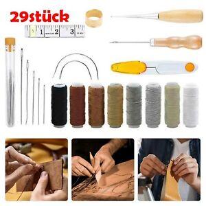 16tlg Leder Werkzeug Polsternadel Nähen Bohren Handwerk Nähnadeln Groover Set