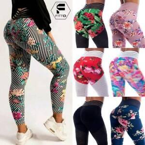 Womens Printed Push Up Leggings Gym Sports Butt Lift Yoga Pants Scrunch Trousers