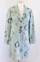 CAbi Guinevere Brocade Jacobean Floral Tapestry Jacket Trench Coat Size 2 Blue