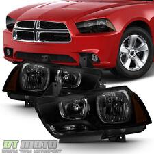 2011-2014 Dodge Charger R/T SE SRT8 Black Smoke Halogen Headlights Headlamps Set
