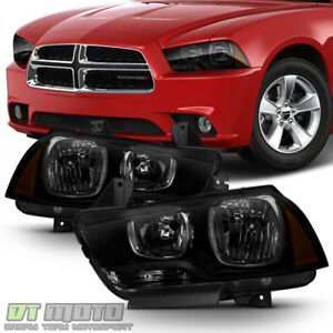 2011-2014 Dodge Charger R/T SE SRT8 Black Smoke Halogen Headlights Headlamps Set