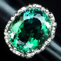BLUE GREEN AMETRINE RING OVAL 20.6CT.SAPPHIRE GARNET 925 STERLING SILVER SZ 6.75