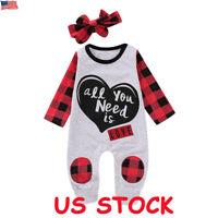 Newborn Infant Kids Baby Girl Bodysuit Romper Jumpsuit Outfit Boy Clothes Set US