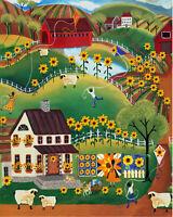 Sunflowers Kites Quilts Sheep Covered Bridge FoLk ArT PaiNtInG OrIgInAl PrInT