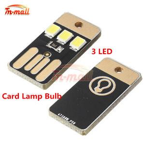 USB Power White Card Lamp Bulb Led Keychain Portable Mini LED Light 2/5/10PCS