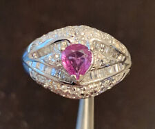 18K White Gold 1.00ct TW Pink Sapphire & Diamond cocktail ring size 7, 5.2 Grams