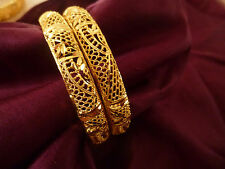 22K GOLD PLATED BANGLES SET OF 2 MEDIUM SIZE INDIAN WEDDING BOLLYWOOD