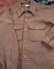 Vintage Woolrich 100% Wool Shirt Size Small Harvest Gold and Brown Plaid