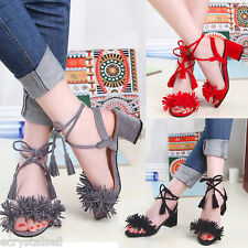 WOMENS LOW BLOCK HEEL FRINGE STRAPPY SUEDE LADIES LACE UP TIE SANDALS SHOES SIZE